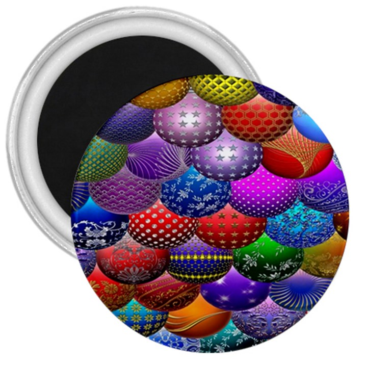 Fun Balls Pattern Colorful And Ornamental Balls Pattern Background 3  Magnets