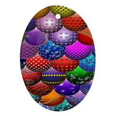 Fun Balls Pattern Colorful And Ornamental Balls Pattern Background Ornament (Oval)
