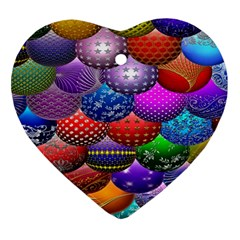 Fun Balls Pattern Colorful And Ornamental Balls Pattern Background Ornament (Heart)