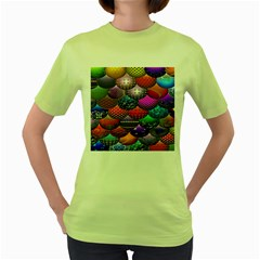 Fun Balls Pattern Colorful And Ornamental Balls Pattern Background Women s Green T Shirt