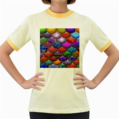Fun Balls Pattern Colorful And Ornamental Balls Pattern Background Women s Fitted Ringer T-Shirts