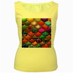 Fun Balls Pattern Colorful And Ornamental Balls Pattern Background Women s Yellow Tank Top