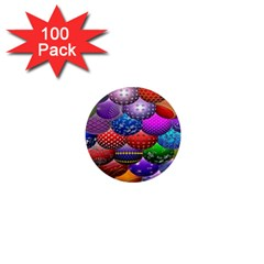 Fun Balls Pattern Colorful And Ornamental Balls Pattern Background 1  Mini Magnets (100 pack)