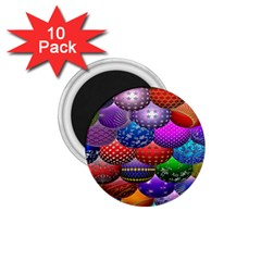 Fun Balls Pattern Colorful And Ornamental Balls Pattern Background 1.75  Magnets (10 pack)
