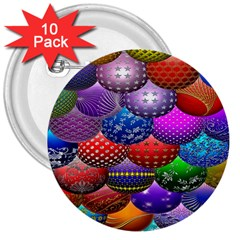 Fun Balls Pattern Colorful And Ornamental Balls Pattern Background 3  Buttons (10 Pack)