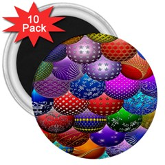 Fun Balls Pattern Colorful And Ornamental Balls Pattern Background 3  Magnets (10 Pack)