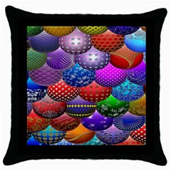 Fun Balls Pattern Colorful And Ornamental Balls Pattern Background Throw Pillow Case (Black)