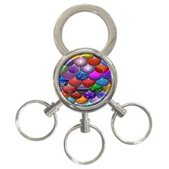 Fun Balls Pattern Colorful And Ornamental Balls Pattern Background 3 Ring Key Chains