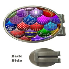 Fun Balls Pattern Colorful And Ornamental Balls Pattern Background Money Clips (Oval)