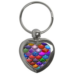 Fun Balls Pattern Colorful And Ornamental Balls Pattern Background Key Chains (heart)