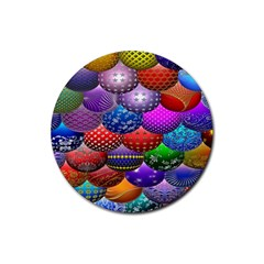 Fun Balls Pattern Colorful And Ornamental Balls Pattern Background Rubber Round Coaster (4 pack)