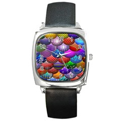 Fun Balls Pattern Colorful And Ornamental Balls Pattern Background Square Metal Watch