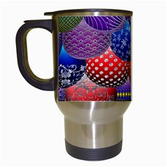 Fun Balls Pattern Colorful And Ornamental Balls Pattern Background Travel Mugs (White)