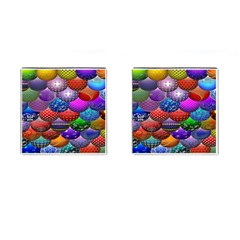 Fun Balls Pattern Colorful And Ornamental Balls Pattern Background Cufflinks (Square)