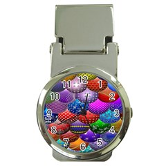 Fun Balls Pattern Colorful And Ornamental Balls Pattern Background Money Clip Watches