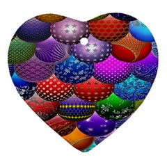 Fun Balls Pattern Colorful And Ornamental Balls Pattern Background Heart Ornament (two Sides)