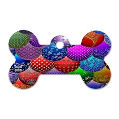 Fun Balls Pattern Colorful And Ornamental Balls Pattern Background Dog Tag Bone (two Sides)
