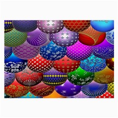 Fun Balls Pattern Colorful And Ornamental Balls Pattern Background Large Glasses Cloth (2 Side)