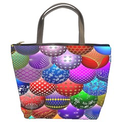 Fun Balls Pattern Colorful And Ornamental Balls Pattern Background Bucket Bags