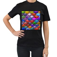 Fun Balls Pattern Colorful And Ornamental Balls Pattern Background Women s T-Shirt (Black)
