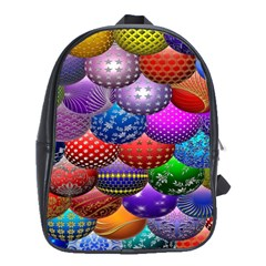 Fun Balls Pattern Colorful And Ornamental Balls Pattern Background School Bags(large)