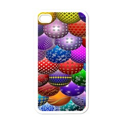 Fun Balls Pattern Colorful And Ornamental Balls Pattern Background Apple iPhone 4 Case (White)