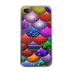 Fun Balls Pattern Colorful And Ornamental Balls Pattern Background Apple iPhone 4 Case (Clear)