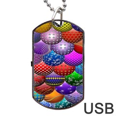 Fun Balls Pattern Colorful And Ornamental Balls Pattern Background Dog Tag USB Flash (Two Sides)