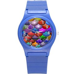 Fun Balls Pattern Colorful And Ornamental Balls Pattern Background Round Plastic Sport Watch (S)