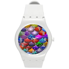 Fun Balls Pattern Colorful And Ornamental Balls Pattern Background Round Plastic Sport Watch (M)