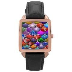 Fun Balls Pattern Colorful And Ornamental Balls Pattern Background Rose Gold Leather Watch