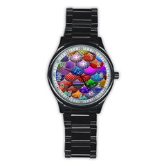 Fun Balls Pattern Colorful And Ornamental Balls Pattern Background Stainless Steel Round Watch