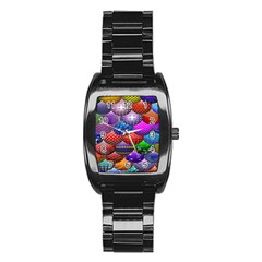 Fun Balls Pattern Colorful And Ornamental Balls Pattern Background Stainless Steel Barrel Watch