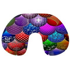 Fun Balls Pattern Colorful And Ornamental Balls Pattern Background Travel Neck Pillows