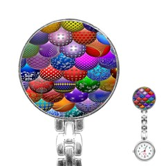 Fun Balls Pattern Colorful And Ornamental Balls Pattern Background Stainless Steel Nurses Watch
