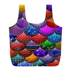 Fun Balls Pattern Colorful And Ornamental Balls Pattern Background Full Print Recycle Bags (L)