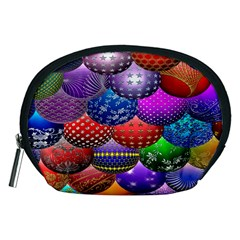 Fun Balls Pattern Colorful And Ornamental Balls Pattern Background Accessory Pouches (Medium)