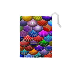 Fun Balls Pattern Colorful And Ornamental Balls Pattern Background Drawstring Pouches (Small)