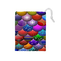 Fun Balls Pattern Colorful And Ornamental Balls Pattern Background Drawstring Pouches (Medium)