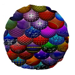 Fun Balls Pattern Colorful And Ornamental Balls Pattern Background Large 18  Premium Flano Round Cushions