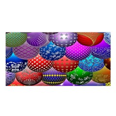 Fun Balls Pattern Colorful And Ornamental Balls Pattern Background Satin Shawl