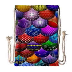 Fun Balls Pattern Colorful And Ornamental Balls Pattern Background Drawstring Bag (Large)