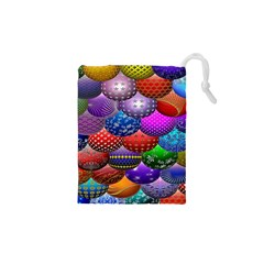 Fun Balls Pattern Colorful And Ornamental Balls Pattern Background Drawstring Pouches (XS)