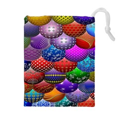 Fun Balls Pattern Colorful And Ornamental Balls Pattern Background Drawstring Pouches (Extra Large)