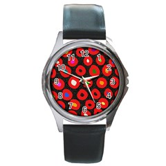Polka Dot Texture Digitally Created Abstract Polka Dot Design Round Metal Watch