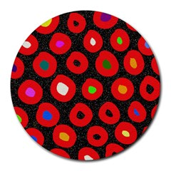 Polka Dot Texture Digitally Created Abstract Polka Dot Design Round Mousepads