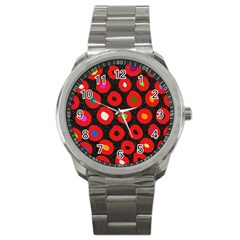 Polka Dot Texture Digitally Created Abstract Polka Dot Design Sport Metal Watch