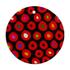 Polka Dot Texture Digitally Created Abstract Polka Dot Design Round Ornament (Two Sides)
