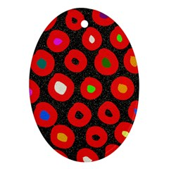 Polka Dot Texture Digitally Created Abstract Polka Dot Design Oval Ornament (two Sides)