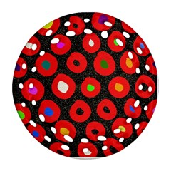 Polka Dot Texture Digitally Created Abstract Polka Dot Design Ornament (round Filigree)